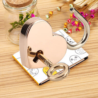 2PCs Mini Heart Shape Padlock Key Lock for Luggage Bag Diary Book Jewelry Box