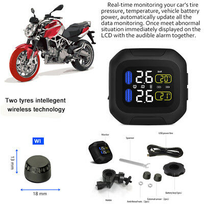 Waterproof Motorcycle TPMS Tire Pressure Monitoring Systems + Wireless USB Power