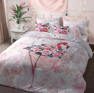 Flamingo Floral Pink Bird Duvet Cover Quilt Bedding Set Pillowcases All Size