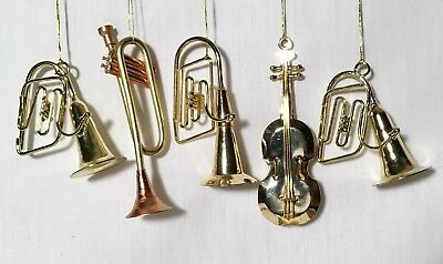 Lot of 5 GOLD-TONE METAL MUSIC INSTRUMENTS, CHRISTMAS ORNAMENT