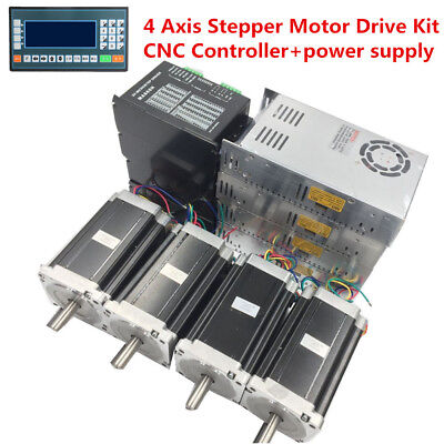 4 Axis 6.5Nm Nema34 Dual Shaft Stepper Motor Drive + Power Supply+CNC Controller