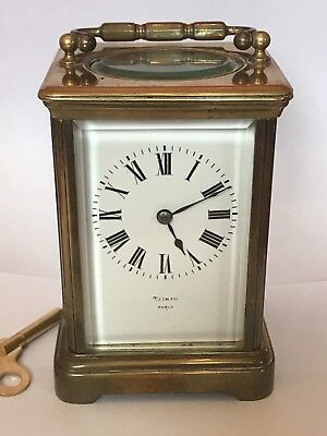Antique Victorian French Paris Brass Carriage Clock Striking 8 Day Works C1890