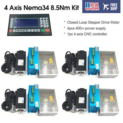 4 Axis Nema34 8.5Nm DSP Closed Loop Stepper Drive Motor+CNC Contoll+Power Supply