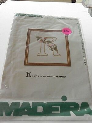Madeira  Surface Embroidery Kit - R is for Rose in the Floral Alphabet