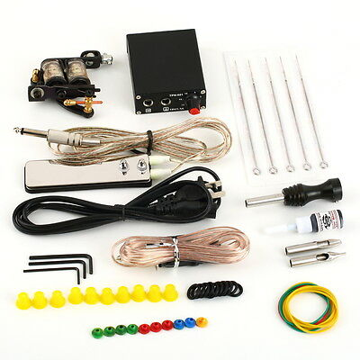 Complete Tattoo Kit 10 Color Ink 2 Machine Guns Set Lcd Power Supply Equipment B