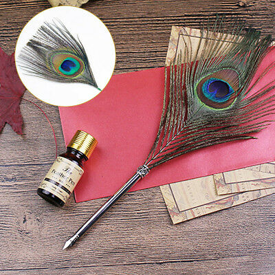 Peacock Feather Quill Dip Pen Ink Set Handle With Box Craft Vantage Retro Gift