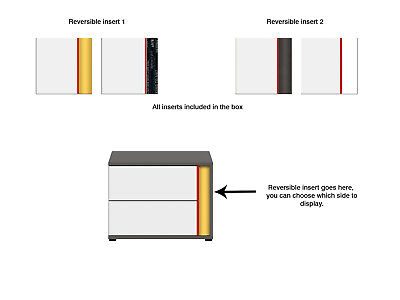 Graphic New Bedside Cabinet drawers grey yellow red customise modern bedroom