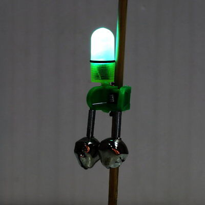 Night Fishing Rod Tip LED Light Clip Rod Twin Bells Ring Bite Alarm BY