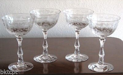 Fostoria Glass NAVARRE Etch Crystal Clear Champagne Stems - Set of 4