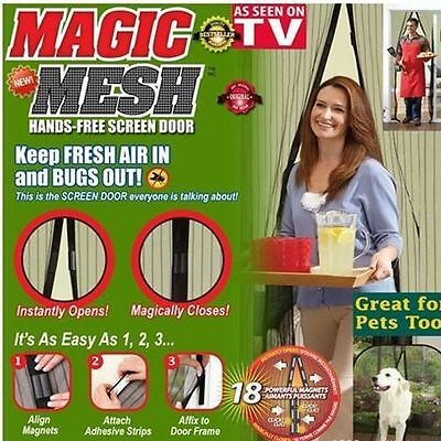 Hand-Free Mesh Screen Net Door magnets Anti Mosquito Bug Curtain New BY