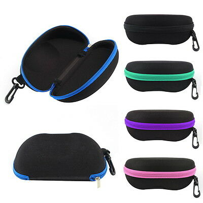 New Portable Zipper Eye Glasses Sunglasses Clam Shell Hard Case Protector Box BY