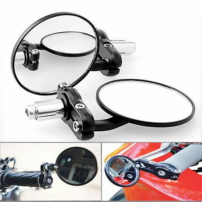 "1 Pair Motorcycle Round 7/8"" Handle Bar End Foldable Rear View Side Mirrors BY"