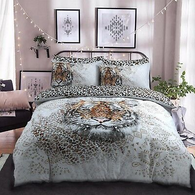 Tiger Panel Animal print Duvet Cover Bedding Set with Pillow Case Set All Sizes