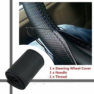 Universal DIY Auto Car Leather Steering Wheel Cover With Needles and Thread Blac