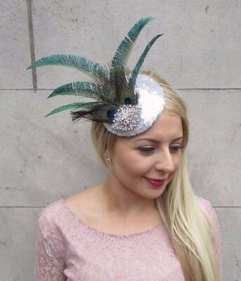 Silver Green Peacock Statement Feather Fascinator Races Hat Sequin Vintage 4041