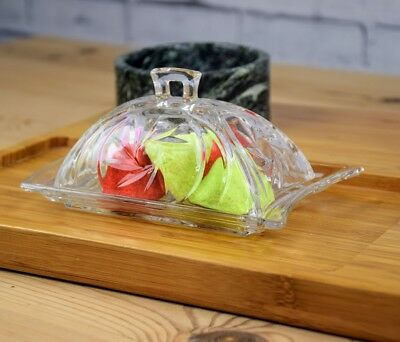 Good Quality Glass Transparent Butter Dish With Lid and Handle LEO