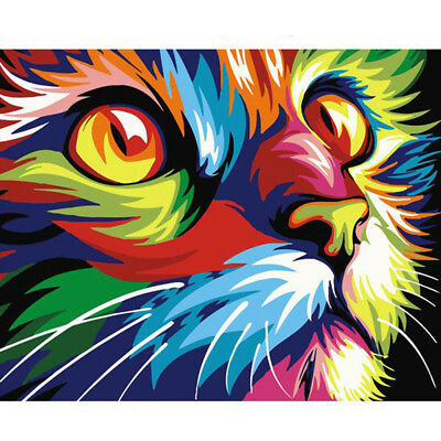Home shop store Decor Canvas Paint By Numbers Kit Oil Painting DIY Rainbow Cat