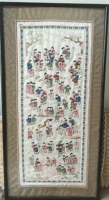 100 Hundred Children Playing Chinese Embroidery on Silk Framed