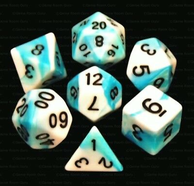New 7 Piece Teal White Gemini Polyhedral Dice Set – Turquoise Bag – RPG D&D