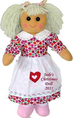 Personalised Rag Doll Baby's First Christmas Gift Purple Pink Floral Dress