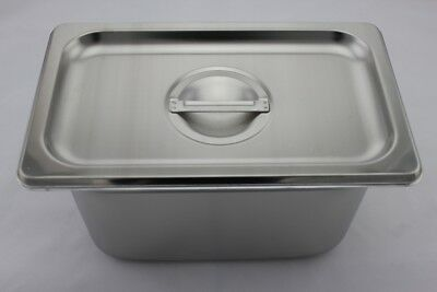 Stainless Steel Bain Marie Tray and Lid 1/4 Size (100mm depth)