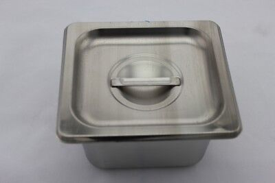 Stainless Steel Bain Marie Tray and Lid 1/6 Size (100mm depth)