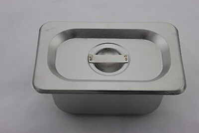 Stainless Steel Bain Marie Tray and Lid 1/9 Size (100mm depth)