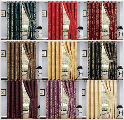 LUXURY JACQUARD Curtains Fully Lined Ready Made Ring Top Curtains