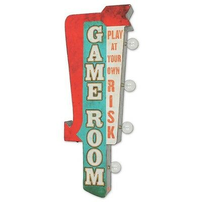 "NEW Retro Metal LED Game Room Wall Sign  Double Sided 3""L x 6.9""W x 25""H Vintage"