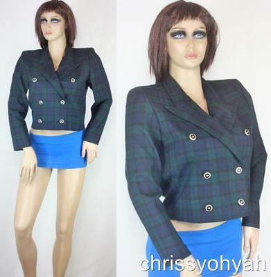 VTG 80s Blue Green Tartan Plaid Cropped Double Breasted Military Blazer Jacket M
