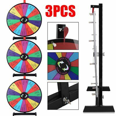 """3PCS 24"""" Color Prize Wheel Fortune Folding Floor Stand Carnival Spinnig Game B2"""