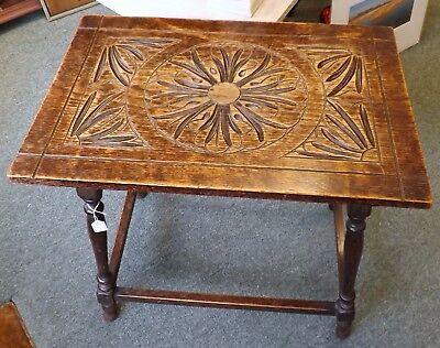 Edwardian Oak Rectangular Top Occasional Table With Carved Decoration