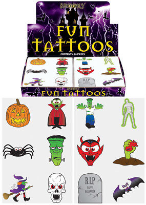 36 Halloween Temporary Tattoos Party Bag Fillers Pinata Toys Trick Or Treat