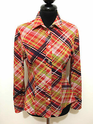 CULT VINTAGE '70 Camicia Donna Blusa Optical Jersey Woman Shirt Sz.XS - 38