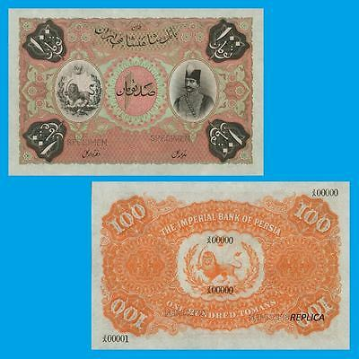 PERSIA 100 Tomans note 1890 Imperial bank of Persia. UNC - Reproduction