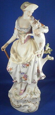 Large Meissen Porcelain Lady Shepherdess Figure Figurine Porzellan Figur German
