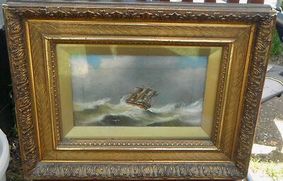 Follower of Henry Redmore Signed Oil Painting Ship at Sea in Storm in Gilt Frame