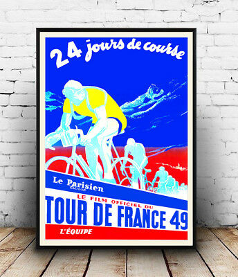 Tour De France 49 : Vintage Cycling advert , Wall art ,poster, Reproduction.
