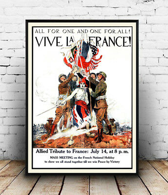 Vive La France : Vintage French political , Wall art ,poster, Reproduction.