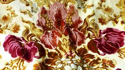 FRENCH 1840 LYON SILK CUT VELVET POMPON VALANCE COLORED FLOWERS UNUSED 27x29""