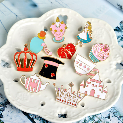 Alice in Wonderland Fairy tale Princess Made Hatter Tea Party Pin Brooch Badge