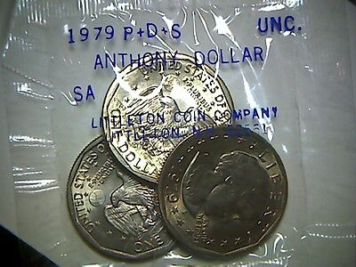 1979-P-D-S United States Susan B Anthony Dollar Coins In Cello Package,