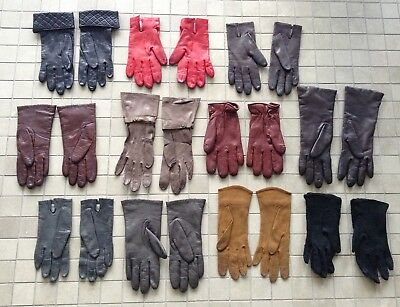 Vintage Designer Leather Gloves Lot of 12 Pairs Various Colors Sizes 6-6.5