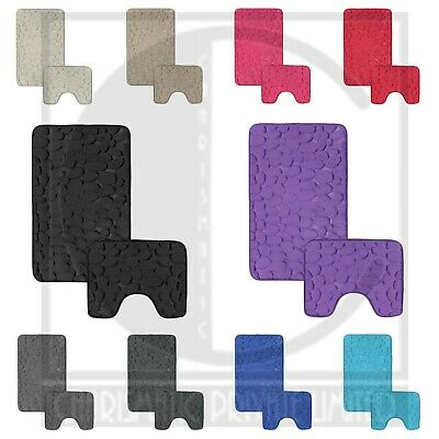 Non Slip Bath Mat Set Rubber Pedestal Mat Toilet Rug Memory Foam Bathroom Pebble