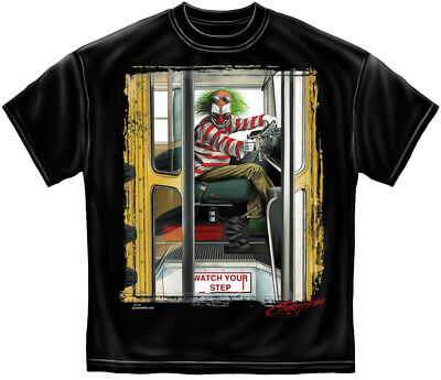 Scary Evil Clown T Shirt It Halloween Horror Psycho School Bus