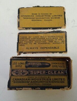 """Early Canadian """"cil 22 Smokeless Greased Long Rifle Shells"""" Cardboard Box-Empty"""