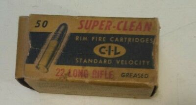 """Vintage Canadian """"cil 22 Long Rifle Super Clean Shells - Greased"""" Cardboard Box"""
