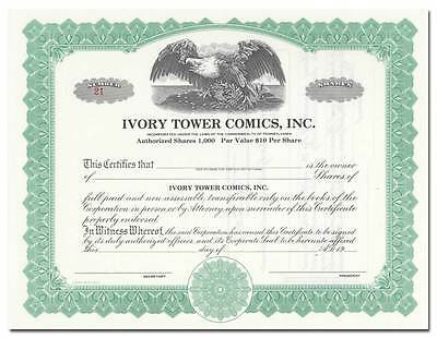 Ivory Tower Comics, Inc. Stock Certificate