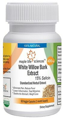 White Willow Bark Extract Capsules, 15% Salicin, relief joint and muscles pain