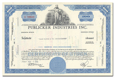 Publicker Industries Inc. Stock Certificate (Distilling Company)